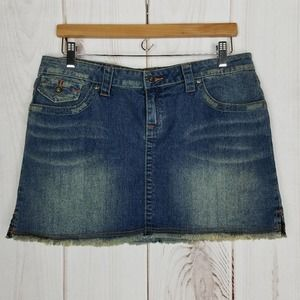 YMI | Distressed Fray Fringe Jeans Mini Skirt